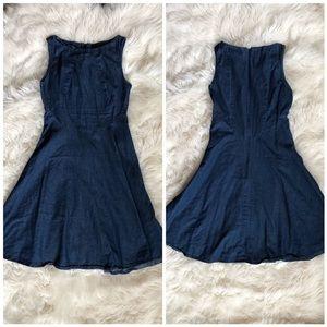 Zara Cotton Denim Sleeveless Midi Dress